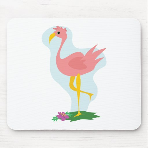 cute pink flamingo standing in the yard mousepad