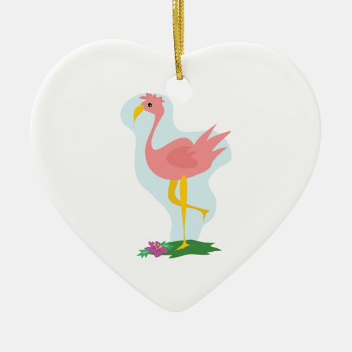 cute pink flamingo standing in the yard Double-Sided heart ceramic christmas ornament