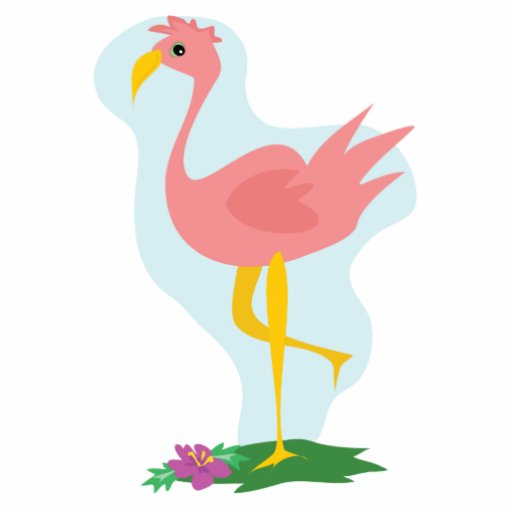 cute pink flamingo standing in the yard acrylic cut outs