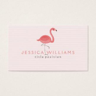 Cute Pink Flamingo & Stripes Business Card