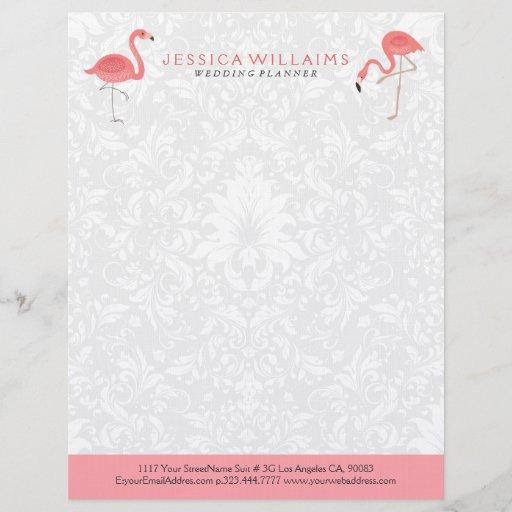 Cute pink Flamingo White Damasks Background Letterhead
