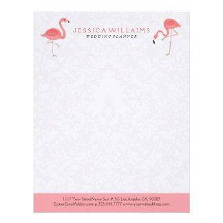 Cute pink Flamingo White Damasks Background Letterhead