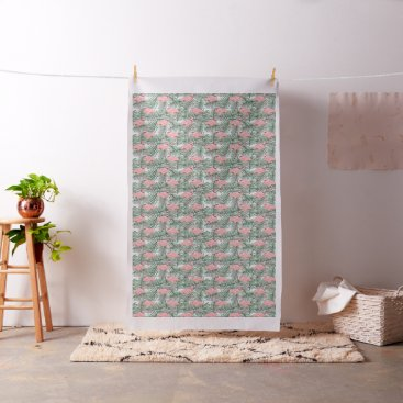 Beach Themed Cute Pink Flamingoes Palm Leafs Pattern Fabric
