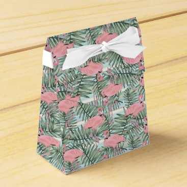 Beach Themed Cute Pink Flamingoes Palm Leafs Pattern Favor Box