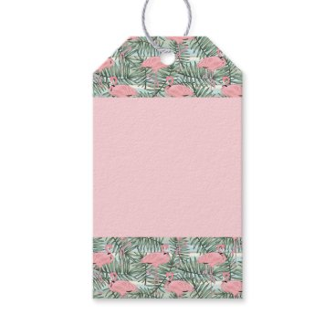 Beach Themed Cute Pink Flamingoes Palm Leafs Pattern Gift Tags