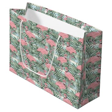 Beach Themed Cute Pink Flamingoes Palm Leafs Pattern Large Gift Bag