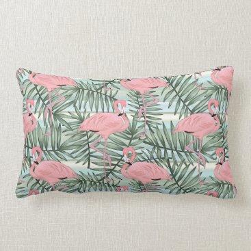 Beach Themed Cute Pink Flamingoes Palm Leafs Pattern Lumbar Pillow