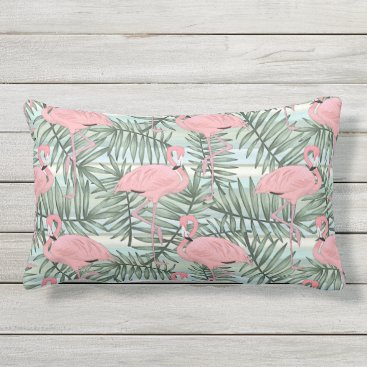 Beach Themed Cute Pink Flamingoes Palm Leafs Pattern Outdoor Pillow