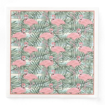 Beach Themed Cute Pink Flamingoes Palm Leafs Pattern Paper Dinner Napkin