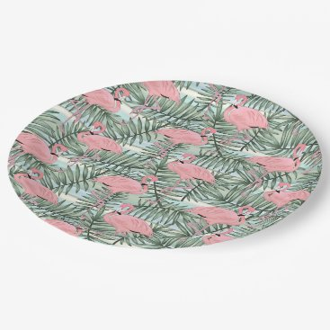 Beach Themed Cute Pink Flamingoes Palm Leafs Pattern Paper Plate