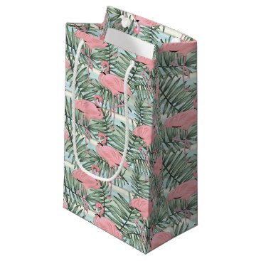 Beach Themed Cute Pink Flamingoes Palm Leafs Pattern Small Gift Bag