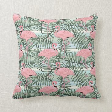 Beach Themed Cute Pink Flamingoes Palm Leafs Pattern Throw Pillow