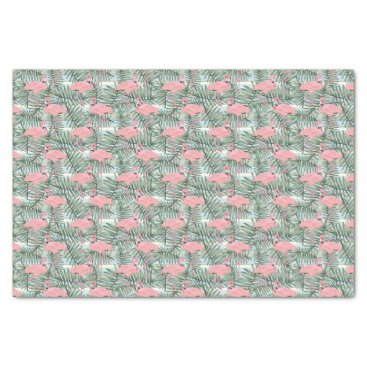 Beach Themed Cute Pink Flamingoes Palm Leafs Pattern Tissue Paper