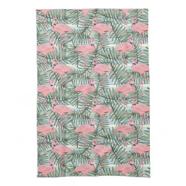 Cute Pink Flamingoes Palm Leafs Pattern Towel