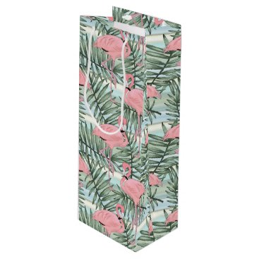 Beach Themed Cute Pink Flamingoes Palm Leafs Pattern Wine Gift Bag