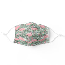 Cute Pink Flamingoes Palm Tree Leaves Watercolor Adult Cloth Face Mask