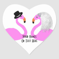 Cute Pink Flamingos Bride & Groom Wedding Heart Sticker