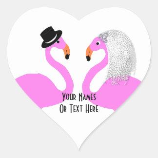 Cute Pink Flamingos Bride & Groom Wedding Heart Sticker