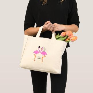 Cute Pink Flamingos Bride & Groom Wedding Mini Tote Bag