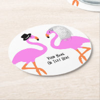 Cute Pink Flamingos Bride & Groom Wedding Round Paper Coaster
