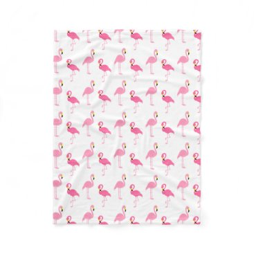 Beach Themed Cute Pink Flamingos Fleece Blanket