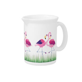 Cute Pink Flamingos Green Grass Illustration Beverage Pitcher