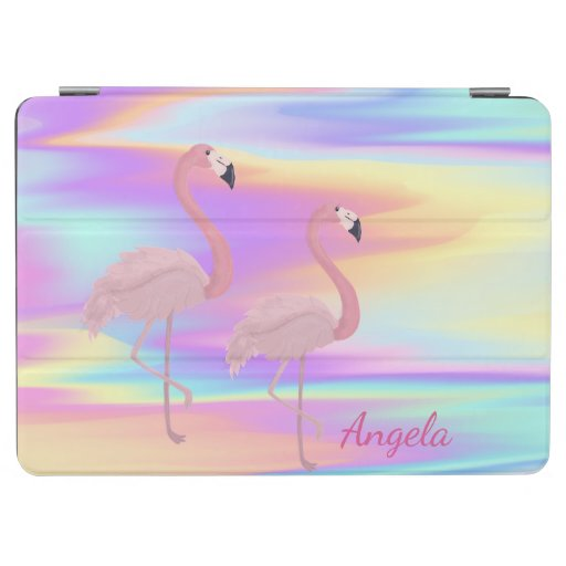Cute Pink Flamingos Holographic iPad Air Cover