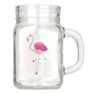 Cute Pink Flamingos Illustration Mason Jar