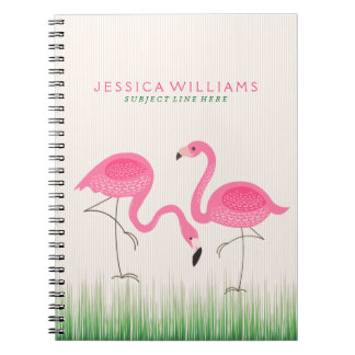 Cute Pink Flamingos Illustration Notebook