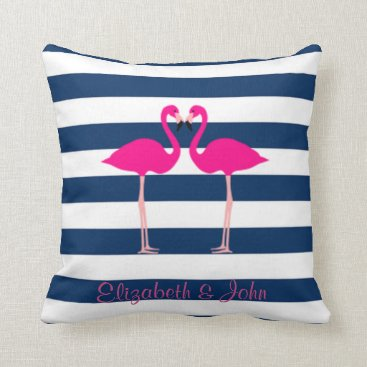 Beach Themed Cute Pink Flamingos In Love,Striped-Personalized Throw Pillow