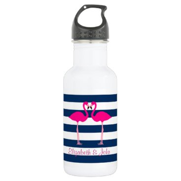 Beach Themed Cute Pink Flamingos In Love,Striped-Personalized Water Bottle