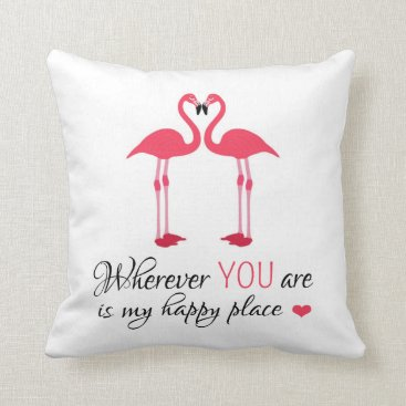 Valentines Themed Cute Pink Flamingos in Love Throw Pillow