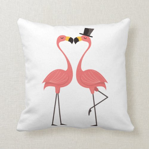 Cute Pink Flamingos Love Tropical Wedding Beach Throw Pillow