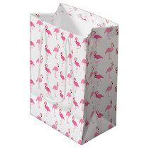 Cute Pink Flamingos Medium Gift Bag