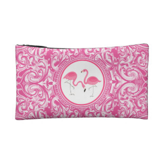 Cute Pink Flamingos Over Pin & White Swirls Makeup Bag