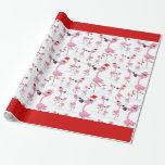 Cute Pink Flamingos Santa Hat Wrapping Paper