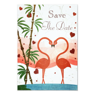 """Cute Pink Flamingos Save The Date 3.5"""" X 5"""" Invitation Card"""