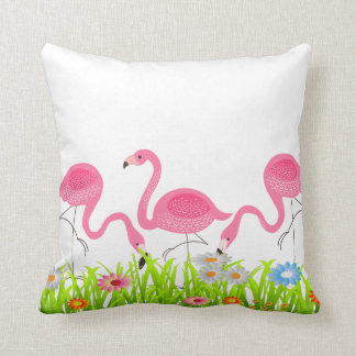 Cute Pink Flamingos Spring Flowers Throw Pillow