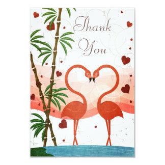 Cute Pink Flamingos Thank You Wedding 3.5x5 Paper Invitation Card