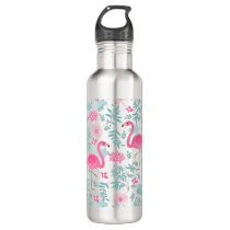 Cute Pink Flamingos & Tropical Flowers Water Bottle