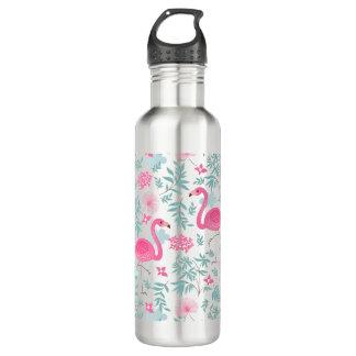 Cute Pink Flamingos & Tropical Flowers Water Bottle
