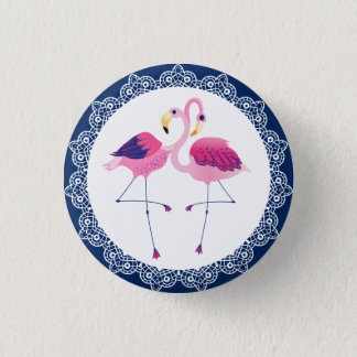 Cute Pink Flamingos With Blue & White lace Pinback Button