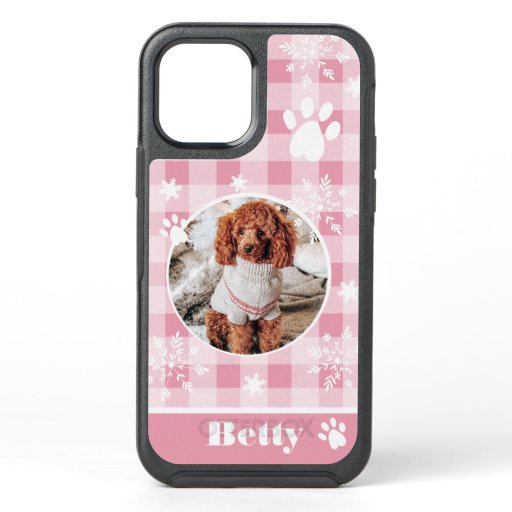 cute pink flannel dog pet photo Christmas snow OtterBox Symmetry iPhone 12 Case