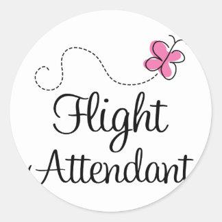 Cute Pink Flight Attendant Classic Round Sticker