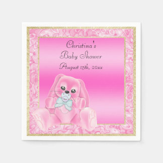Cute Pink Floppy Ears Bunny Baby Shower Paper Napkin
