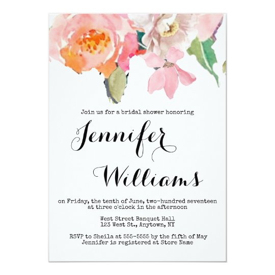cute pink floral bridal shower invitations