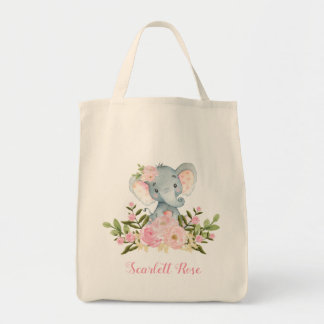 Cute Pink Floral Elephant Tote Bag Personalized