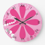 Cute Pink Floral Girly Retro Daisy Flowers Clocks