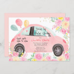 Cute pink floral gold car drive by baby shower invitation