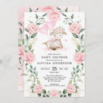 Cute Pink Floral Lamb Balloons Girl Baby Shower Invitation